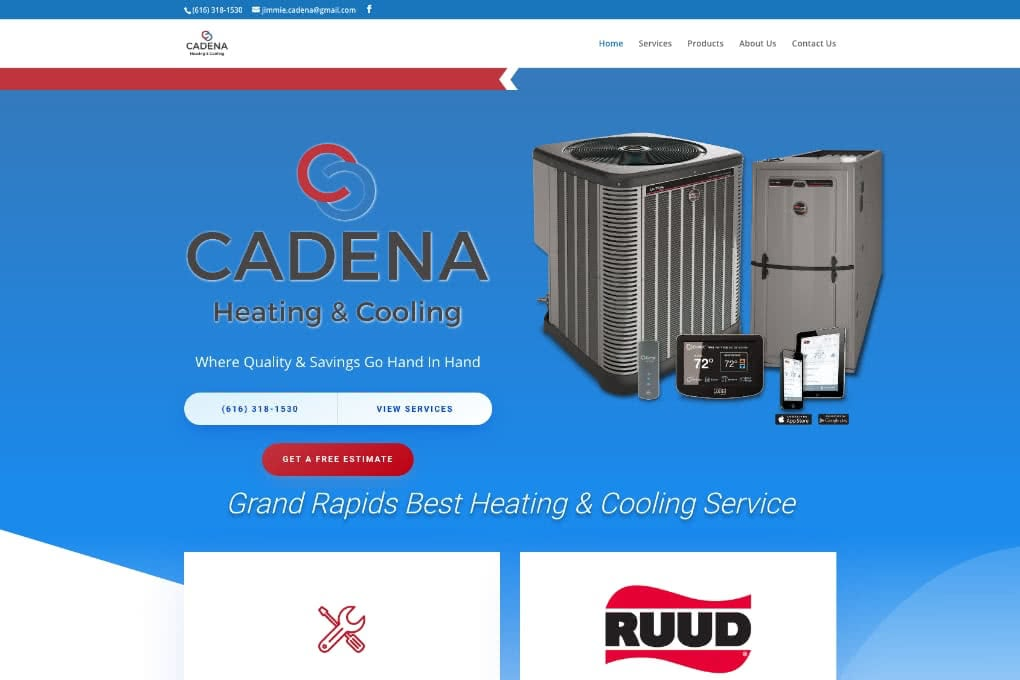 Screenshot Of Cadena Heating Cooling Website