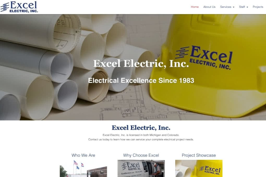Screenshot Of Excel Electric Website