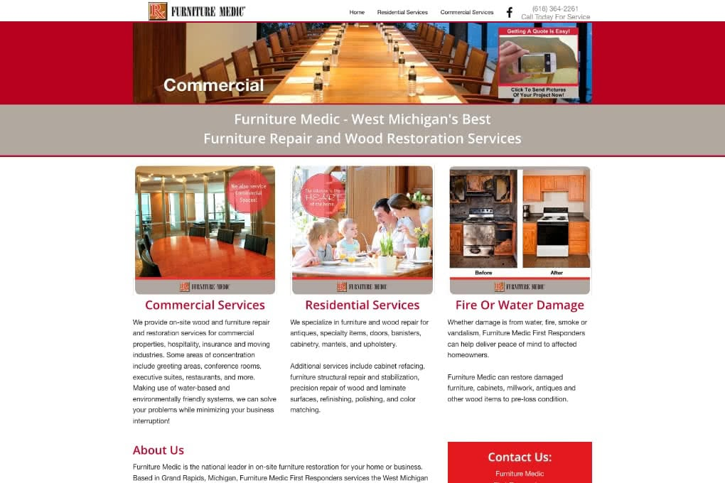Screenshot Of Furniture Medic Website