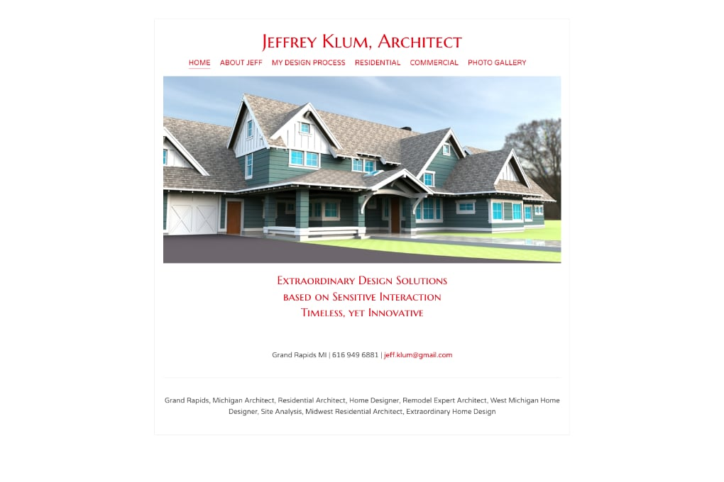 Sreenshot of Architect Jeffrey Klum website