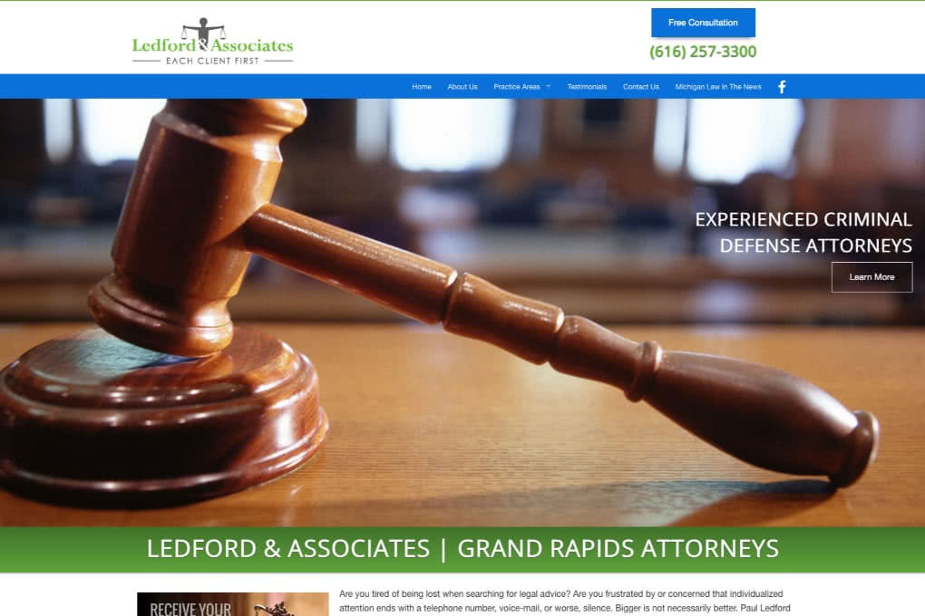 Screenshot of Ledford & Associates Website built by GRMacGeek