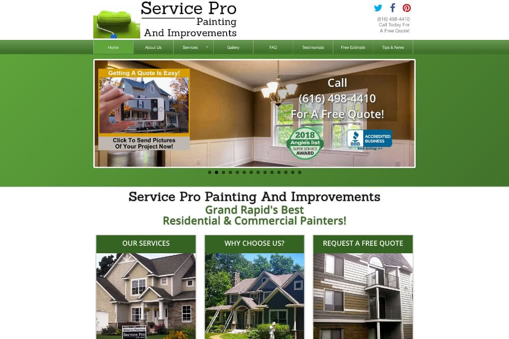 Screenshot of Service Pro Painting website