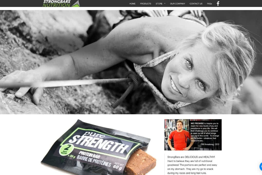 Screenshot Of Strongbars Nutrition Website