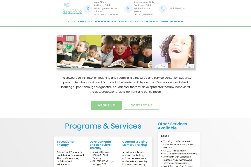 Screenshot of Encourage Institute Website