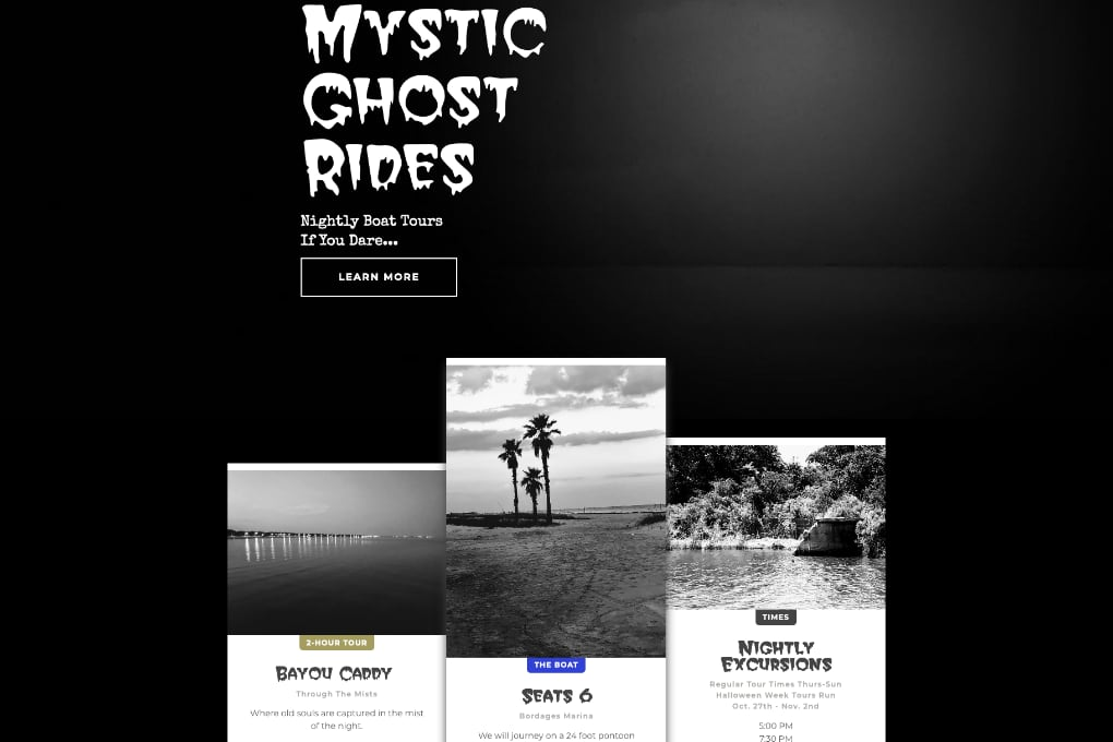 Screenshot of Mystic Ghost Boat Tours Website