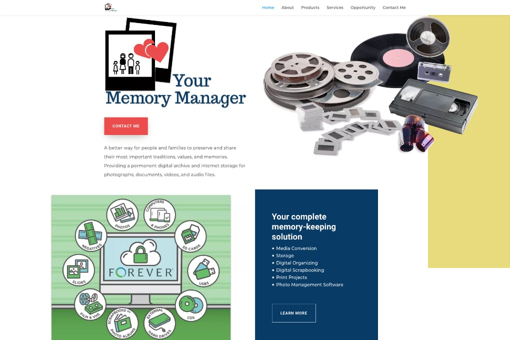 Screenshot of Your memory Manager Website