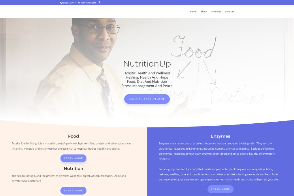 Screenshot Of NutritionUp Website