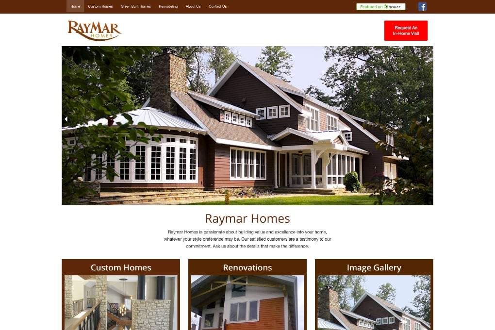 Screenshot Of The Raymar Homes Website