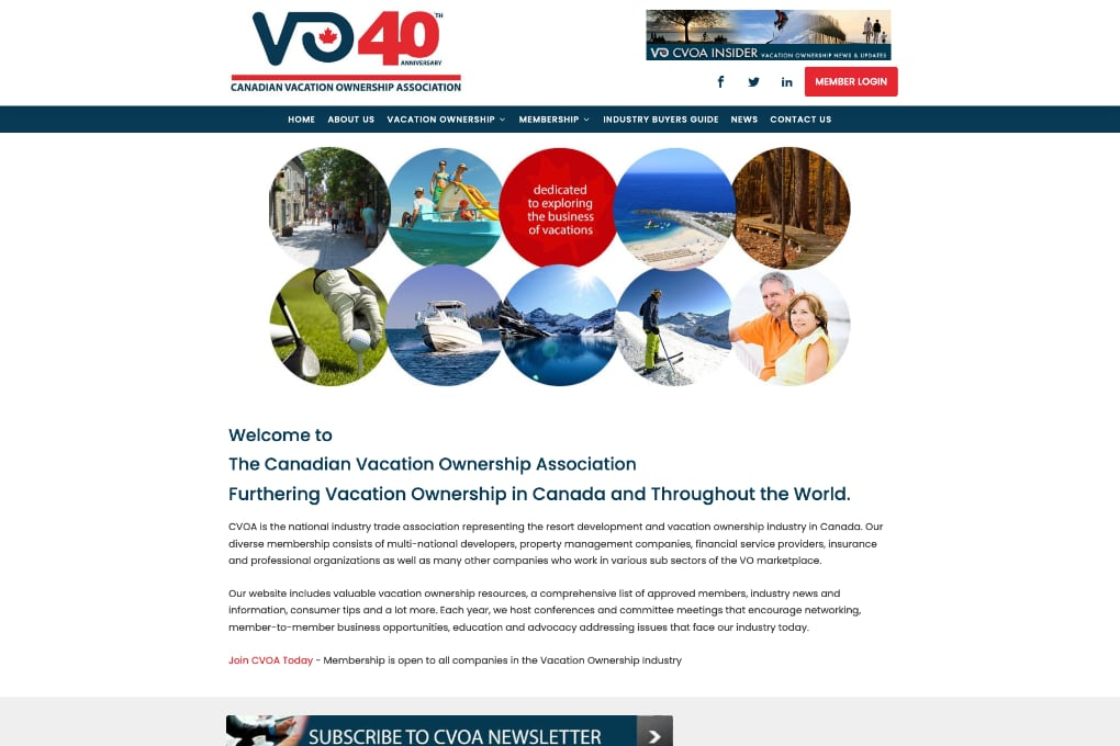 Screenshot Of The Canadian Vacation Ownership Association Website