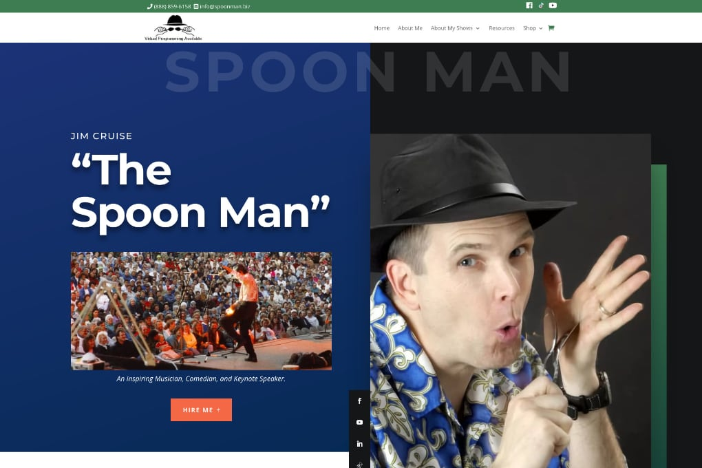 Screenshot Of The Spoon Man Website